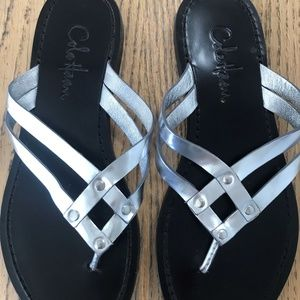 Cole Haan Metalic Silver Thong Flats Sandals